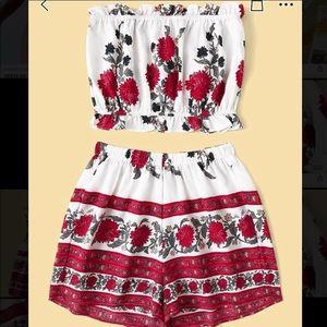 Floral print boho two piece shorts set